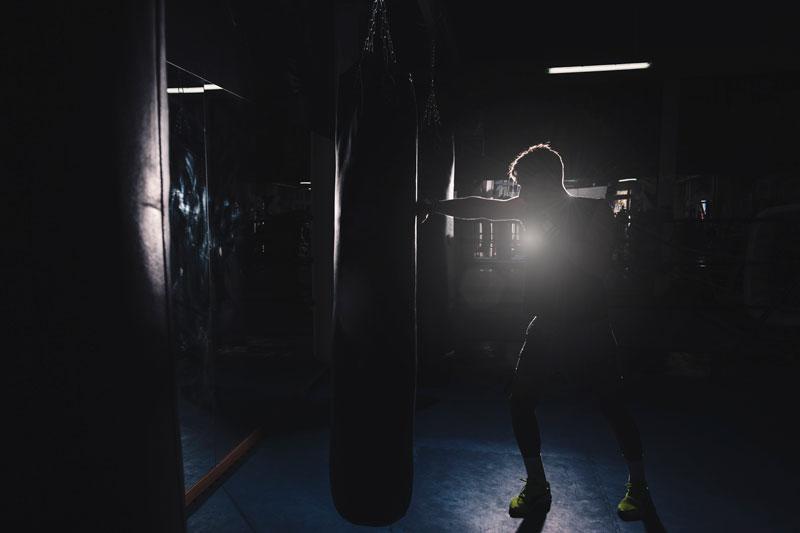 boxerské rukavice a vrece