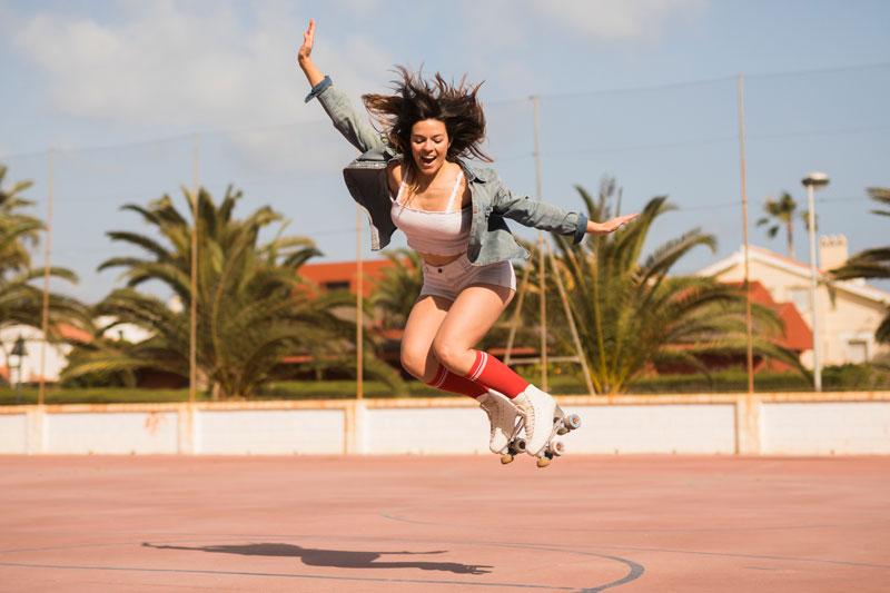 dvojradové korčule radosť skok