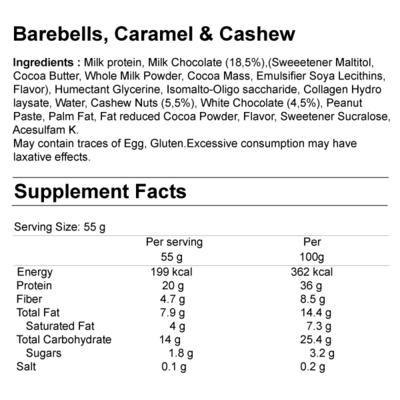 barebells tyčinka výživové hornoty