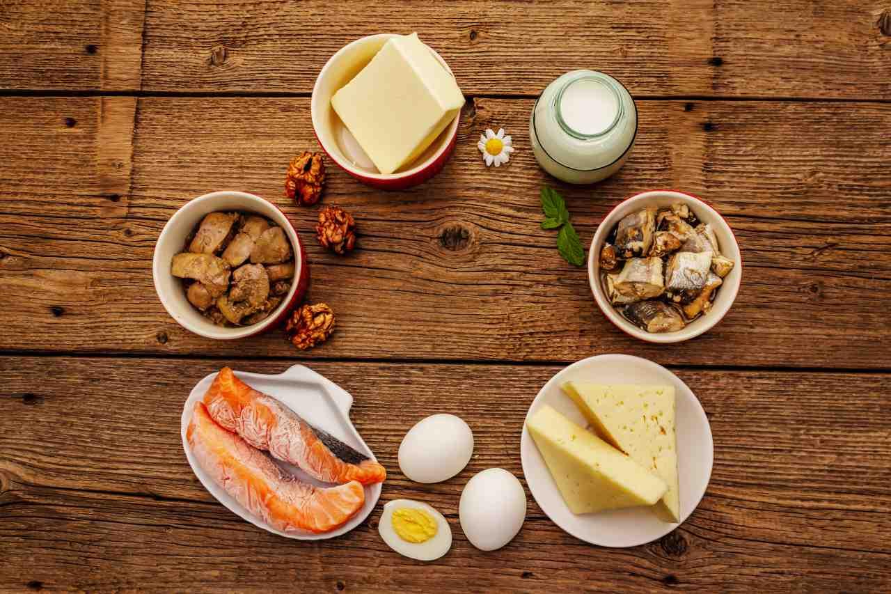 zdroje vitamín D vajíčka mäso orechy losos